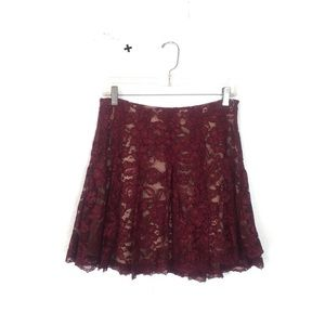 ASTR The Label Burgundy Lace Pleated Flare Skirt